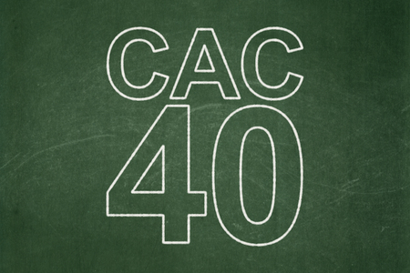 indexes: Stock market indexes concept: text CAC 40 on Green chalkboard background