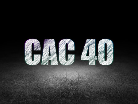 indexes: Stock market indexes concept: Glowing text CAC 40 in grunge dark room with Dirty Floor, black background