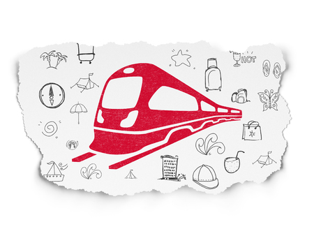 Travel concept: Painted red Train icon on Torn Paper background with  Hand Drawn Vacation Icons Stock Photo