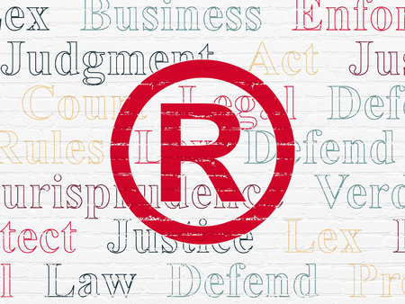 Law concept: Painted red Registered icon on White Brick wall background with  Tag Cloud Stock Photo