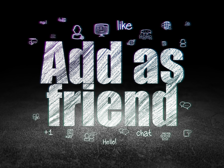 add as friend: Social network concept: Glowing text Add as Friend,  Hand Drawn Social Network Icons in grunge dark room with Dirty Floor, black background Stock Photo