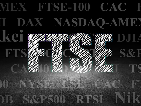britannia: Stock market indexes concept: Glowing text FTSE in grunge dark room with Dirty Floor, black background with  Tag Cloud