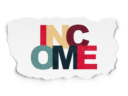 Business concept: Painted multicolor text Income on Torn Paper background