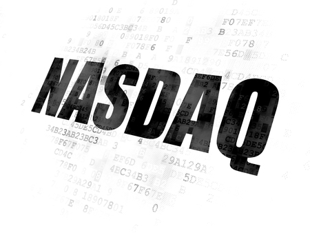 stock quotations: Stock market indexes concept: Pixelated black text NASDAQ on Digital background Stock Photo