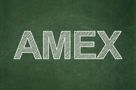 school strategy: Stock market indexes concept: text AMEX on Green chalkboard background Stock Photo