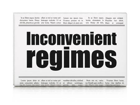 regimes: Political concept: newspaper headline Inconvenient Regimes on White background, 3D rendering