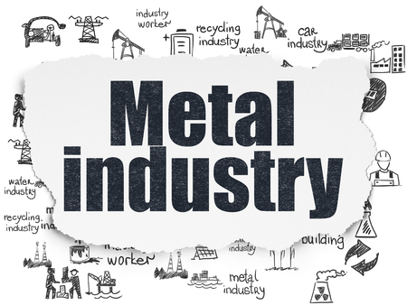 torn metal: Manufacuring concept: Painted black text Metal Industry on Torn Paper background with  Hand Drawn Industry Icons