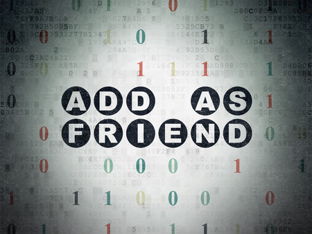 add as friend: Social network concept: Painted black text Add as Friend on Digital Data Paper background with Binary Code