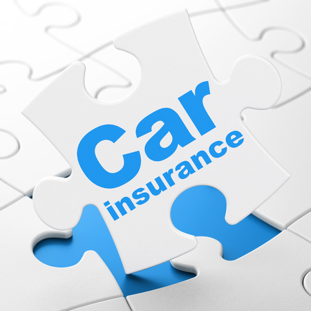 Insurance concept: Car Insurance on White puzzle pieces background, 3D rendering Stock Photo