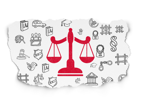 Law concept: Painted red Scales icon on Torn Paper background with  Hand Drawn Law Icons