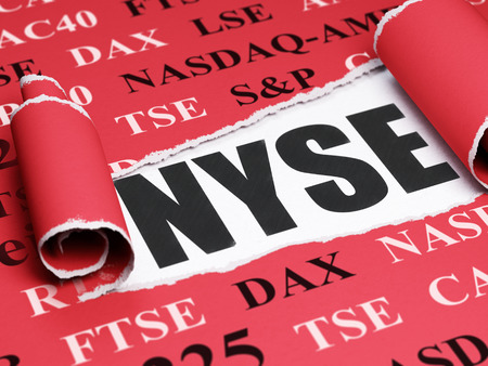 Stock market indexes concept: black text NYSE under the curled piece of Red torn paper with  Tag Cloud, 3D rendering