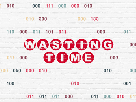 Timeline concept: Painted red text Wasting Time on White Brick wall background with Binary Code