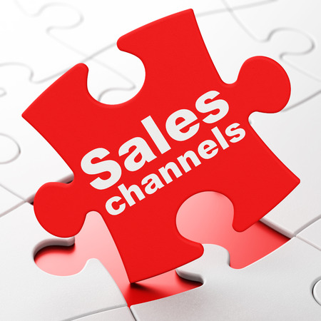 Marketing concept: Sales Channels on Red puzzle pieces background, 3D rendering Stock Photo