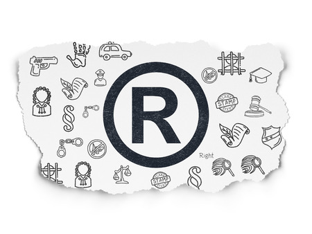 r regulation: Law concept: Painted black Registered icon on Torn Paper background with  Hand Drawn Law Icons