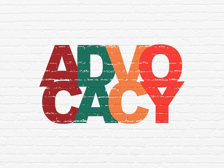 Law concept: Painted multicolor text Advocacy on White Brick wall background Stock Photo