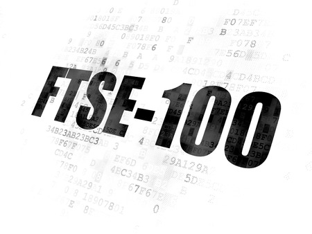 britannia: Stock market indexes concept: Pixelated black text FTSE-100 on Digital background