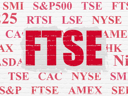 britannia: Stock market indexes concept: Painted red text FTSE on White Brick wall background with  Tag Cloud
