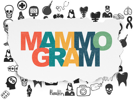 mammogram: Healthcare concept: Painted multicolor text Mammogram on Torn Paper background with  Hand Drawn Medicine Icons
