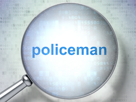 data protection act: Law concept: magnifying optical glass with words Policeman on digital background, 3D rendering