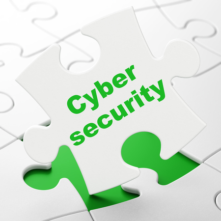Privacy concept: Cyber Security on White puzzle pieces background, 3D rendering Stock Photo