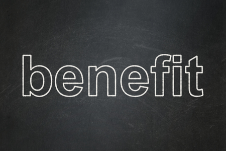Business concept: text Benefit on Black chalkboard background