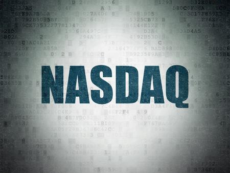 Stock market indexes concept: Painted blue word NASDAQ on Digital Data Paper background Zdjęcie Seryjne