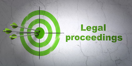 proceedings: Success law concept: arrows hitting the center of target, Green Legal Proceedings on wall background, 3D rendering