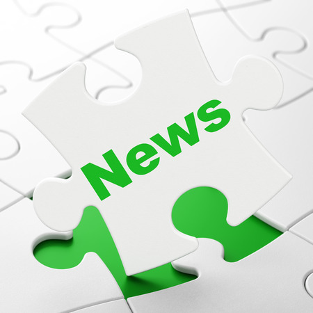 News concept: News on White puzzle pieces background, 3D rendering