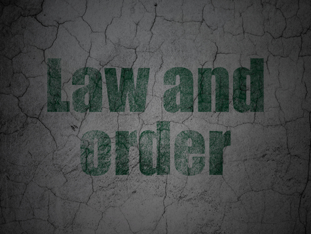 cement court: Law concept: Green Law And Order on grunge textured concrete wall background