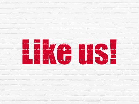 Social media concept: Painted red text Like us! on White Brick wall background
