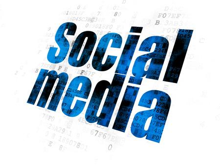 Social media concept: Pixelated blue text Social Media on Digital background