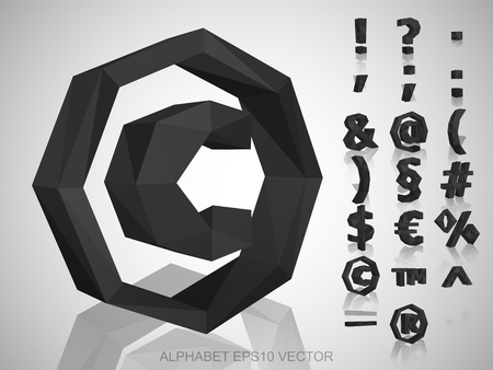 Set of Gray 3D polygonal Symbols with reflection. Low poly alphabet collection. EPS 10 vector illustration. Illustration