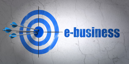 e commerce: Success finance concept: arrows hitting the center of target, Blue E-business on wall background, 3D rendering