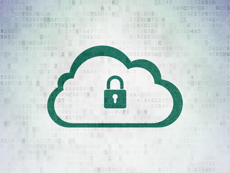 Cloud technology concept: Painted green Cloud With Padlock icon on Digital Data Paper background