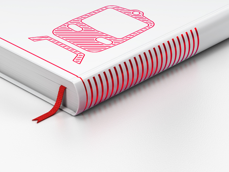 Vacation concept: closed book with Red Train icon on floor, white background, 3D rendering