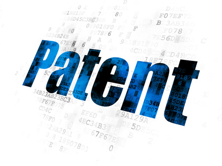 Law concept: Pixelated blue text Patent on Digital background