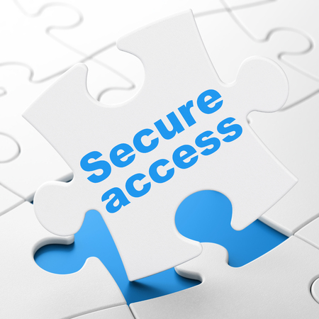 Protection concept: Secure Access on White puzzle pieces background, 3D rendering
