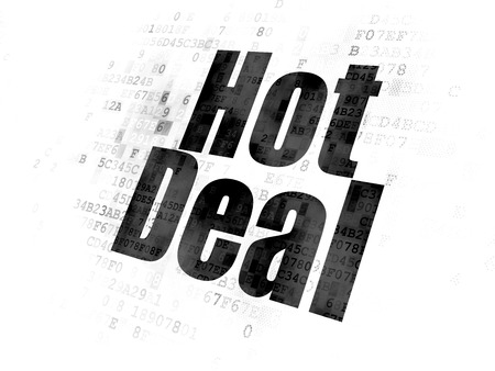 Finance concept: Pixelated black text Hot Deal on Digital background