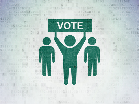 political system: Politics concept: Painted green Election Campaign icon on Digital Data Paper background