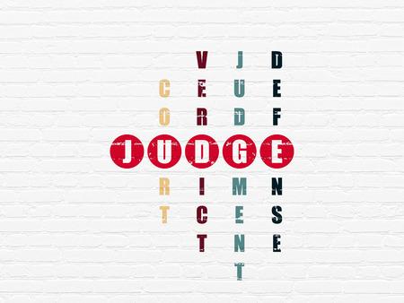 Concepto de ley: palabra pintada rojo Juez en la resolución de crucigramas