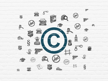 Law concept: Painted blue Copyright icon on White Brick wall background with  Hand Drawn Law Icons Stock Photo