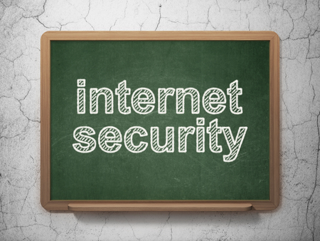 Privacy concept: text Internet Security on Green chalkboard on grunge wall background, 3D rendering