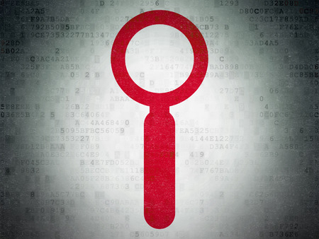 icons site search: Web design concept: Painted red Search icon on Digital Data Paper background