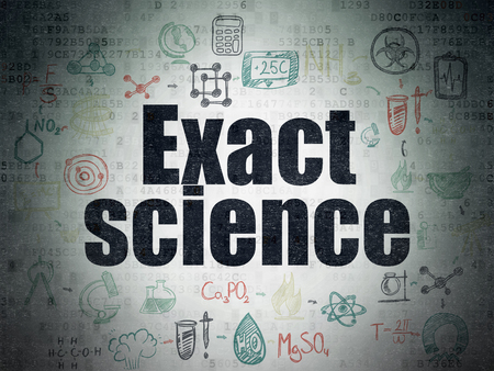 exact science: Science concept: Painted black text Exact Science on Digital Data Paper background with  Scheme Of Hand Drawn Science Icons