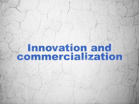 commercialization: Science concept: Blue Innovation And Commercialization on textured concrete wall background