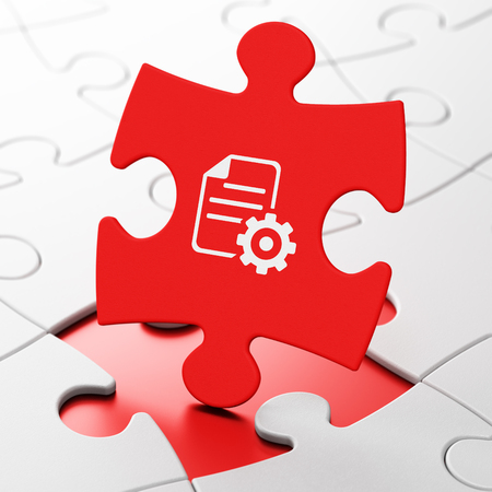 hoja de calculo: Software concept: Gear on Red puzzle pieces background, 3D rendering
