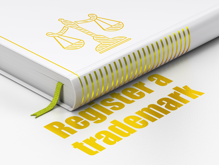 Law concept: closed book with Gold Scales icon and text Register A Trademark on floor, white background, 3D rendering