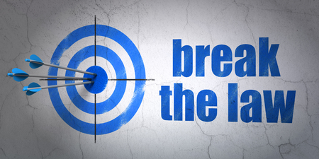 Success law concept: arrows hitting the center of target, Blue Break The Law on wall background, 3D rendering