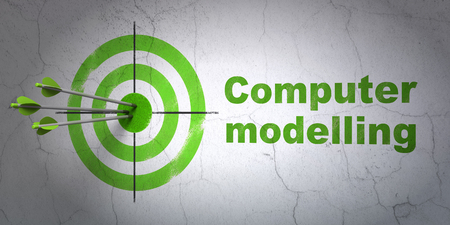 hit tech: Success Science concept: arrows hitting the center of target, Green Computer Modelling on wall background, 3D rendering Stock Photo