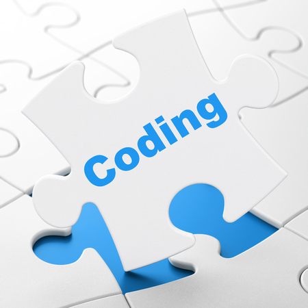 Software concept: Coding on White puzzle pieces background, 3D rendering